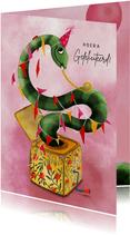 Verjaardagskaart slang in een muziekdoosje