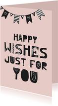 Verjaardagskaart slinger typografie