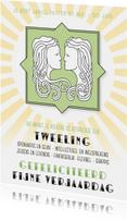 Verjaardagskaarten - Verjaardagskaart sterrenbeeld Tweeling groen