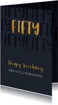 Verjaardagskaart stijlvol met gouden fifty en papierlook