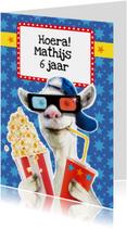 verjaardagskaart stoere geit popcorn