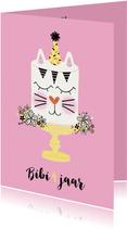 Verjaardagskaart taart konijn roze