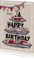 Verjaardagskaart taartjes en cupcakes
