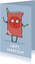 Verjaardagskaart te laat chips, vergeten!