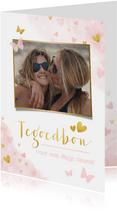 Verjaardagskaarten - Verjaardagskaart tegoedbon met roze en gouden hartjes & foto