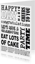 Verjaardagskaart tekst zwartwit stoer