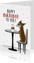 Verjaardagskaart tijdens corona met grappige teckel