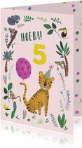 Verjaardagskaarten - Verjaardagskaart tijger jungle meisje