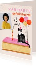 Verjaardagskaart tompouce met poes ballonnen foto