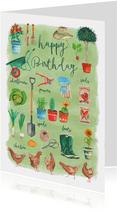 Verjaardagskaart tuinieren man