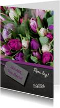 Verjaardagskaart tulpen paars
