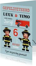 Verjaardagskaart tweeling brandweer en eigen foto's