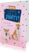 Verjaardagskaart tweeling hond feest confetti pawty