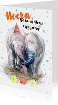 Verjaardagskaart tweeling met olifantjes