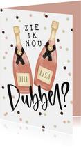 Verjaardagskaart tweeling wijn confetti dubbel feest