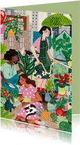 Verjaardagskaart Urban gardening tuinieren in de stad