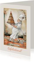 Verjaardagskaart van Anton Pieck bakker met een grote taart