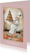 Verjaardagskaart van Anton Pieck bakker met grote taart