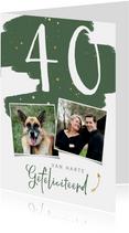 Verjaardagskaart verflook en gouden spetters staand
