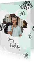 Verjaardagskaart verfstrepen hip met foto man
