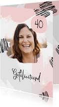 Verjaardagskaart verfstrepen hip met foto vrouw