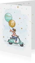 Verjaardagskaart vespa scooter vrouw