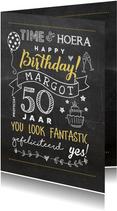 Verjaardagskaart vijftig chalkboard