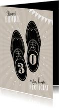 Verjaardagskaart vintage man schoenen stijlvol feest