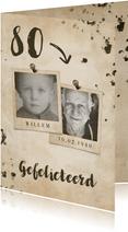 Verjaardagskaart vintage met leeftijd en foto's