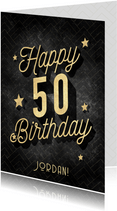 Verjaardagskaart vintage patroon, gouden sterren 50 jaar