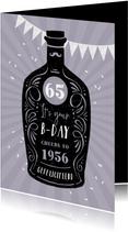 Verjaardagskaart vintage whisky confetti paars