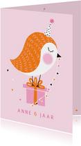 Verjaardagskaart vogel bloemen kado