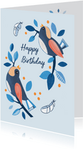 Verjaardagskaart vogels