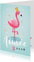 Verjaardagskaart voor een meisje met flamingo