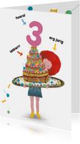 Verjaardagskaart voor jongen of meisje taart met lolly's