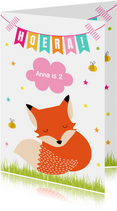 Verjaardagskaart vosje slinger roze
