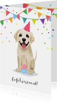 Verjaardagskaart vrolijke puppy cupcake confetti en slingers