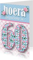 Verjaardagskaart vrouw 60 rozen lief