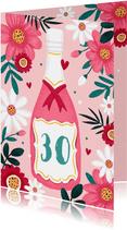 Verjaardagskaart vrouw bloemen champagne roze hartjes