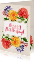 Verjaardagskaart vrouw Botanisch