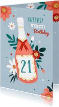 Verjaardagskaart vrouw champagne bloemen hartjes