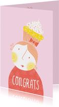 Verjaardagskaart vrouw cupcake roze