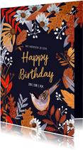 Verjaardagskaart vrouw herfst