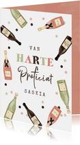 Verjaardagskaart vrouw wijn proost cheers
