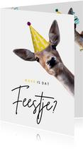 Verjaardagskaart waar is dat feestje met hert met feesthoed