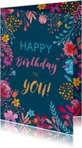 Verjaardagskaarten - Verjaardagskaart waterverf bloemen