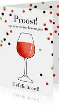 Verjaardagskaart wijn confetti