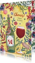 Verjaardagskaart wijn en bloemen