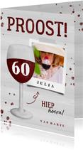 Verjaardagskaart wijnglas met foto en leeftijd