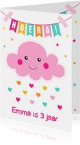 Verjaardagskaart wolkje roze slinger
